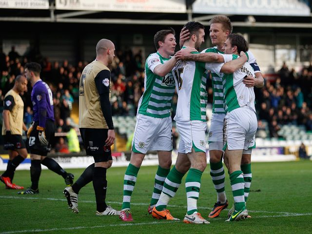 Yeovil celebrate James Hayter's goal