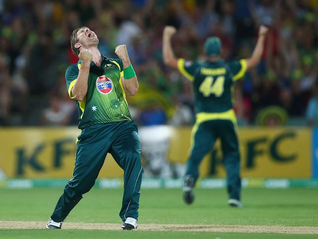Shane Watson celebrates the final wicket of the series