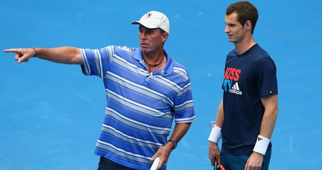 Andy Murray working with Ivan Lendl in Melbourne on Saturday