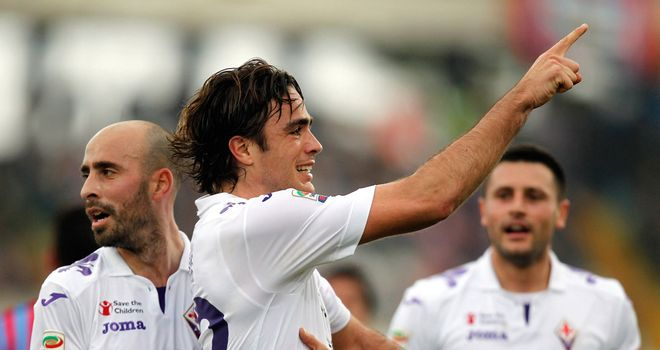 Alessandro Matri celebrates his first goal