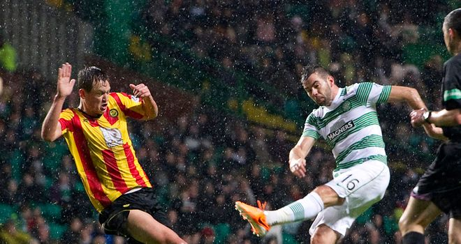 Joe Ledley fires Celtic in front in the Glasgow derby against Partick