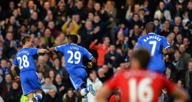 Chelsea v Manchester United Samuel Etoo celeb 3069476?20140119163708 - Chelsea claim 3-1 win over Manchester United at Stamford Bridge