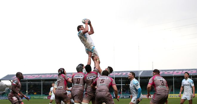 Dean Schofield of Worcester plucks a line out ball out of the air during the win over Oyonnax