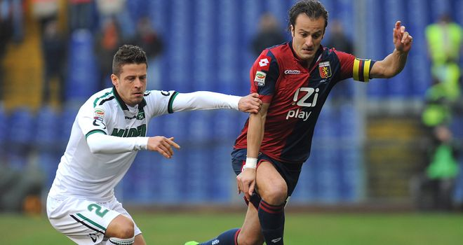 Marcello Gazzola keeps track of Alberto Gilardino