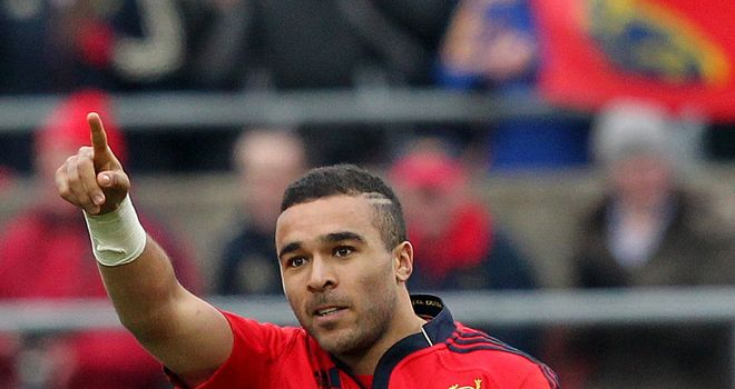 Simon Zebo: Has recovered from a foot injury and will start for Munster