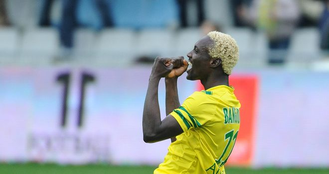 Nantes forward Ismael Bangoura celebrates after scoring