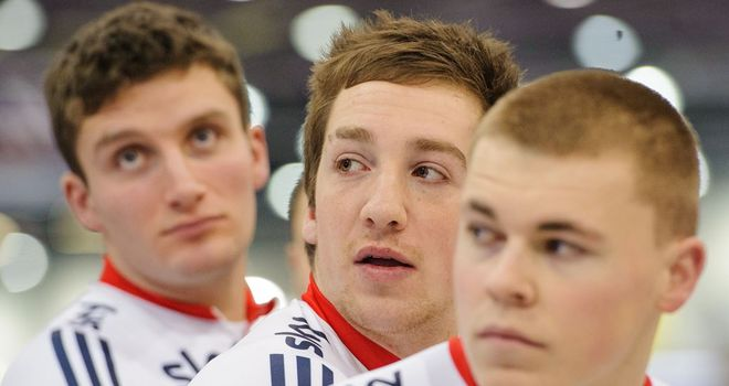 Lewis Oliva, centre, with sprints team-mates Callum Skinner, left, and John Paul, right