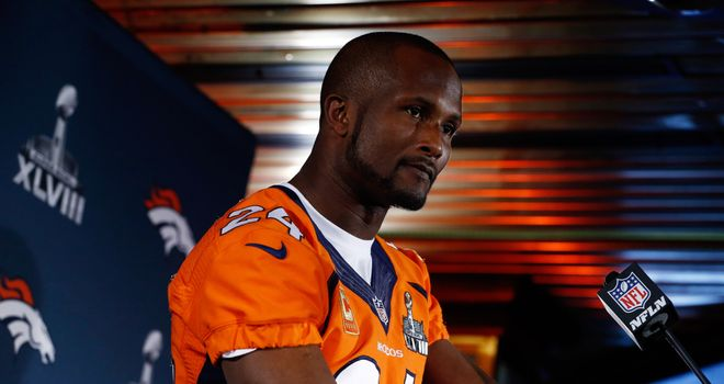Champ Bailey talking at the Super Bowl