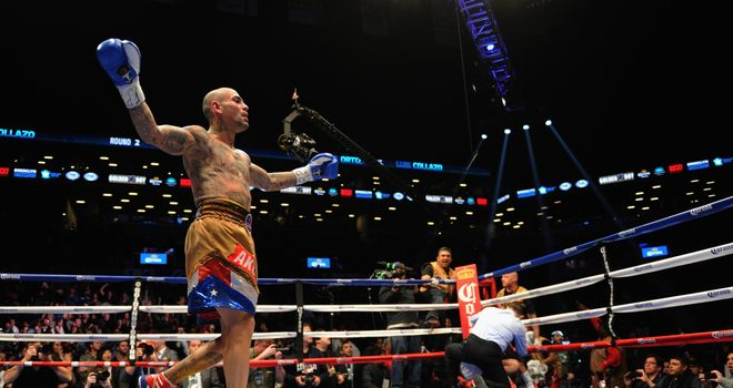 Luis Collazo celebrates his knockout of Victor Ortiz