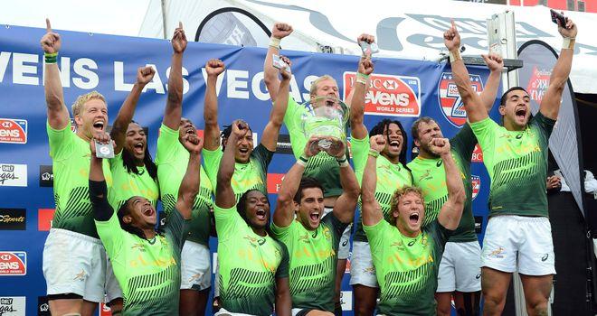 South Africa celebrate winning the Las Vegas Sevens