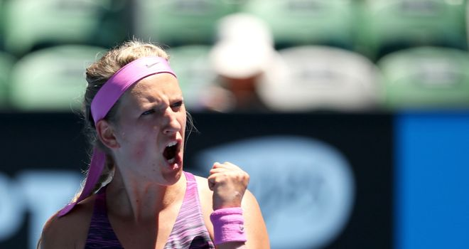 Victoria Azarenka celebrates beating Johanna Larsson