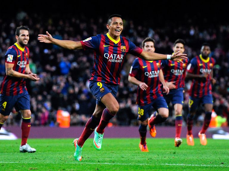 Alexis Sanchez celebrates for Barcelona