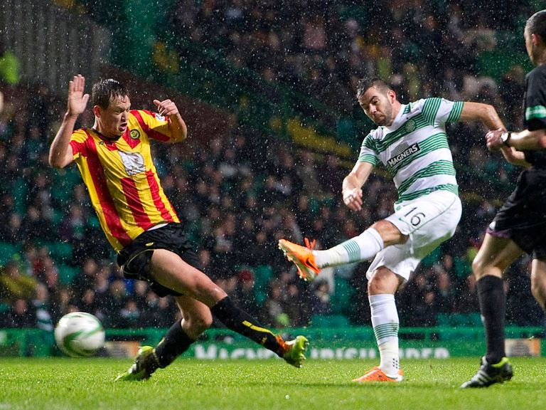 Joe Ledley scores Celtic's winner against Partick.