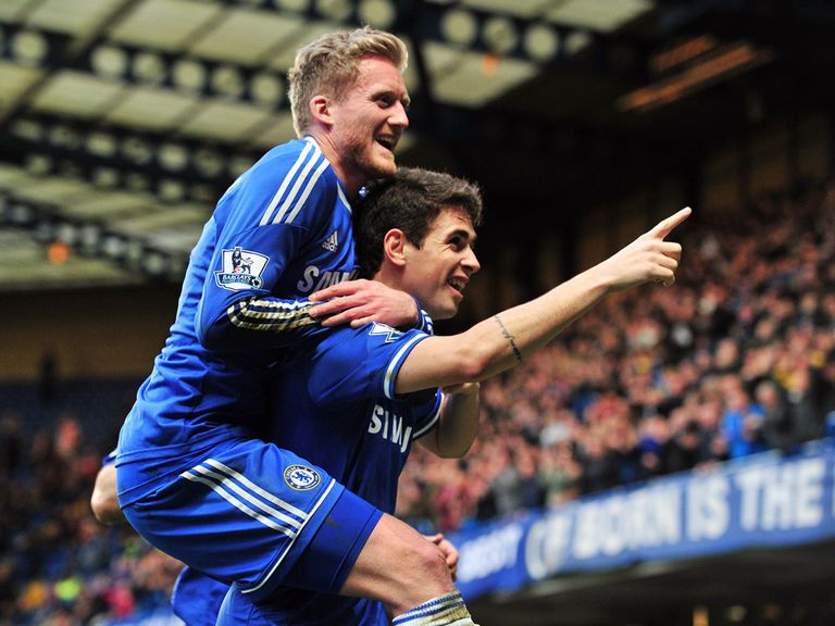 Chelsea celebrate Oscar's winner against Stoke