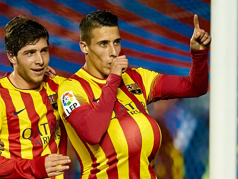 Cristian Tello celebrates for Barcelona