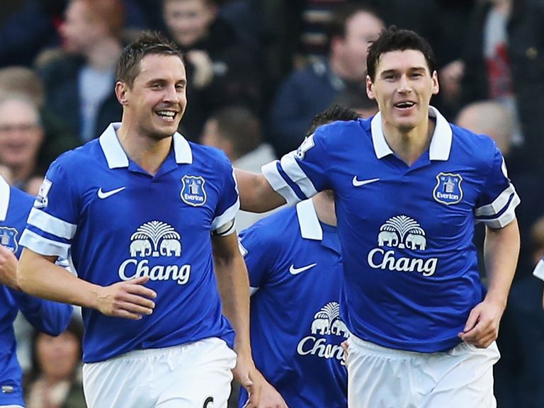 Phil Jagielka: Everton skipper celebrates with Gareth Barry