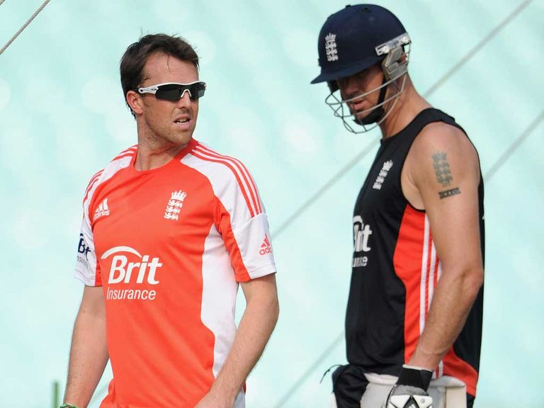 Swann and Pietersen: Former England duo in the nets