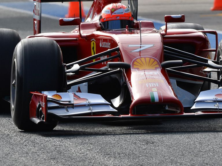Raikkonen drives the Ferrari on the first day of winter testing