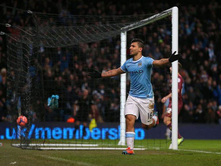 Sergio Aguero's hat-trick helped Manchester City beat Watford 4-2.