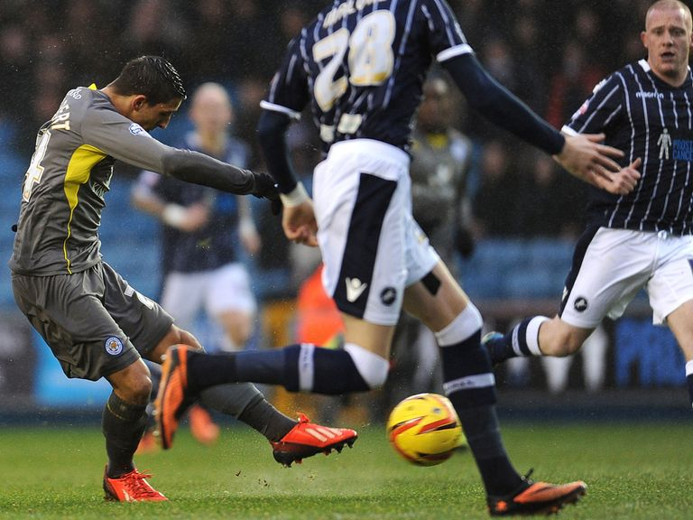 Anthony Knockaert scores Leicester's opener in the 3-1 win at Millwall.
