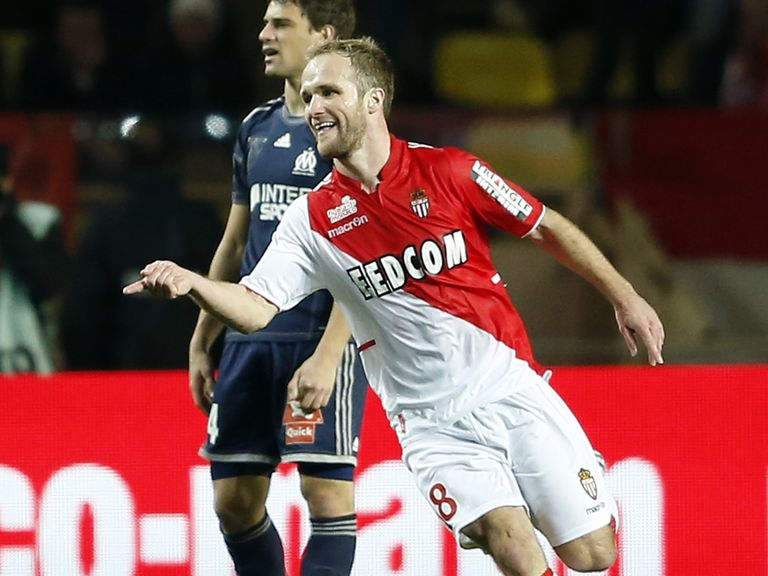 Valere Germain celebrates his goal for Monaco