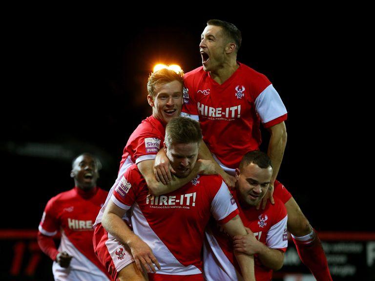 Kidderminster enjoy the 3-2 victory at Peterborough.