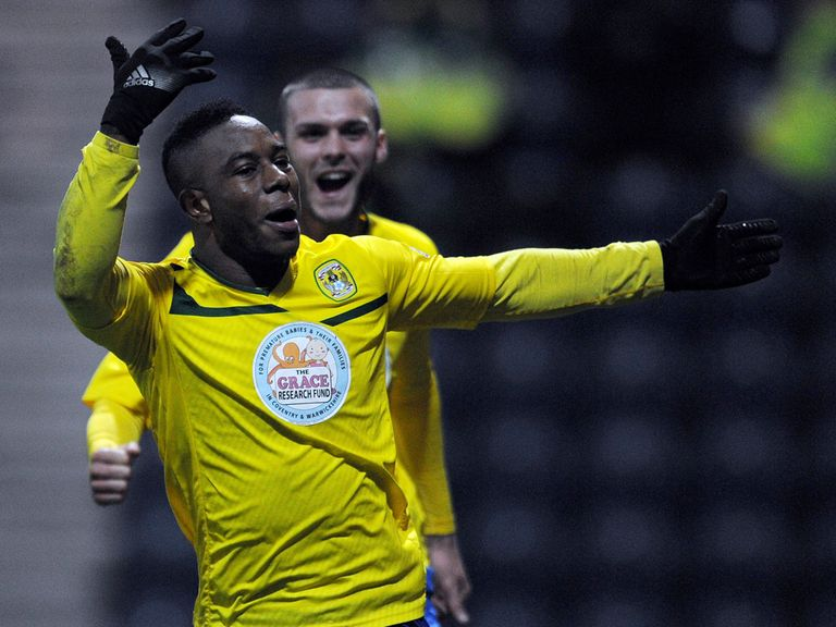 Franck Moussa enjoys his late equaliser for Coventry at Preston.