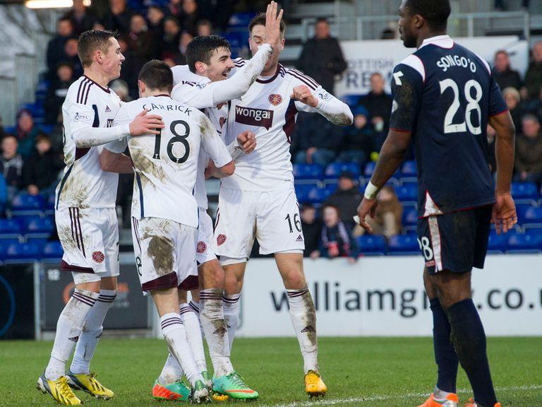 Hearts celebrate Callum Paterson's goal