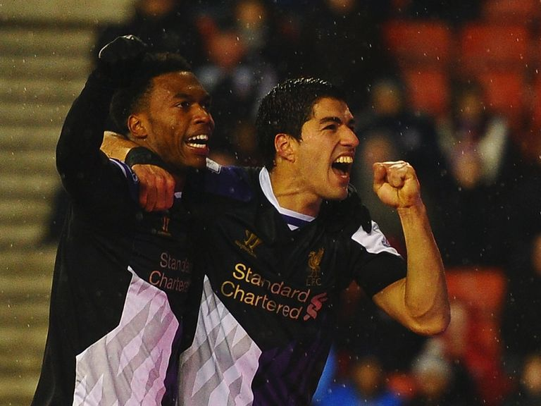 Luis Suarez and Daniel Sturridge celebrate