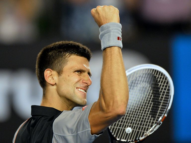 Novak Djokovic celebrates after his victory