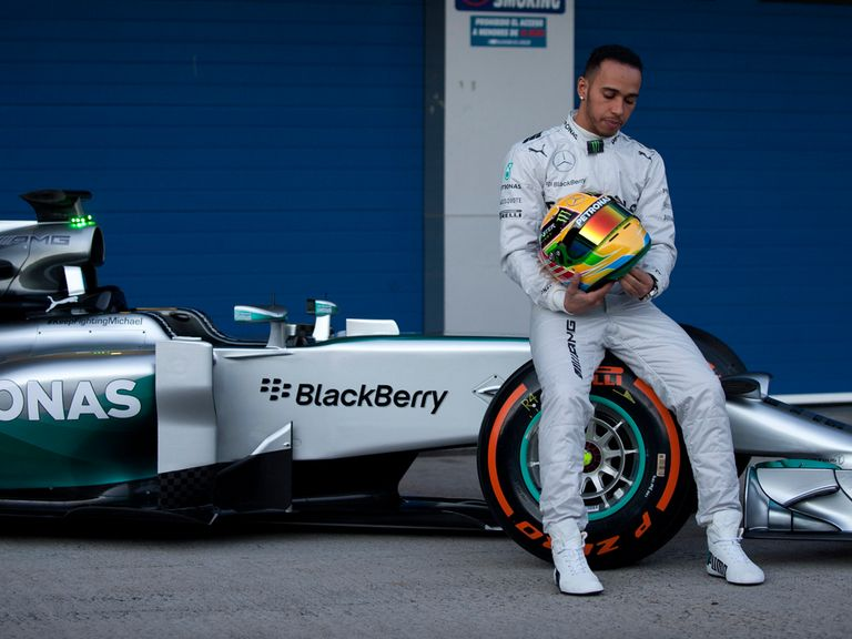 British driver Lewis Hamilton poses during the unveiling of the Mercedes AMG Petronas W05