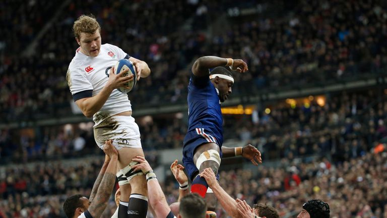 Joe Launchbury leaps into action against France