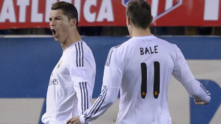 Cristiano Ronaldo: Celebrates after netting at the Vicente Calderon