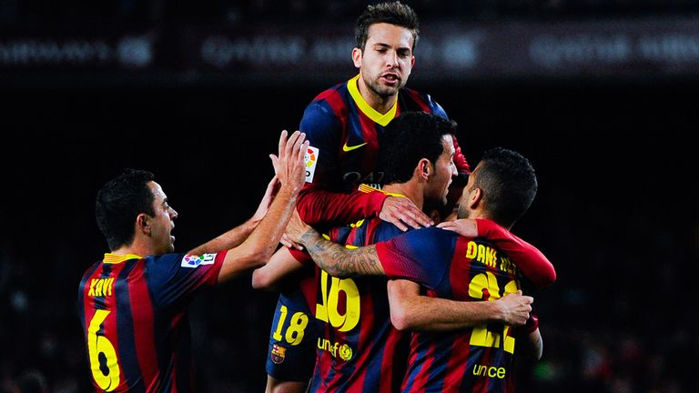Sergio Busquets: Mobbed after scoring against Sociedad