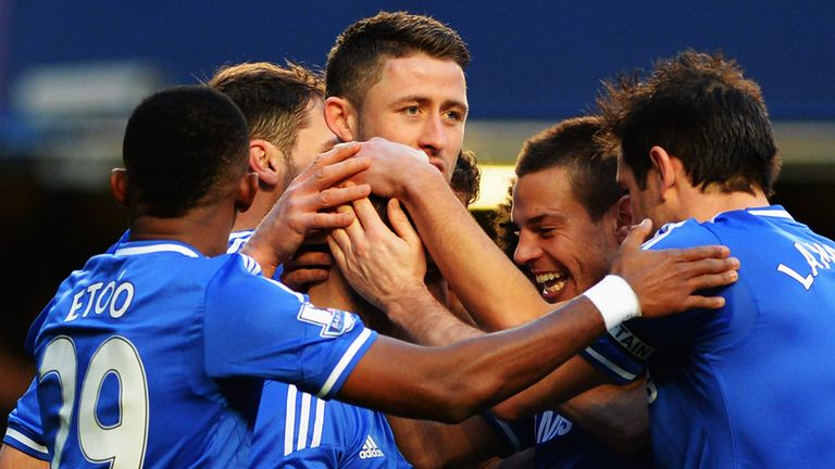 Eden Hazard: Chelsea star is mobbed after hat-trick goal against Newcastle