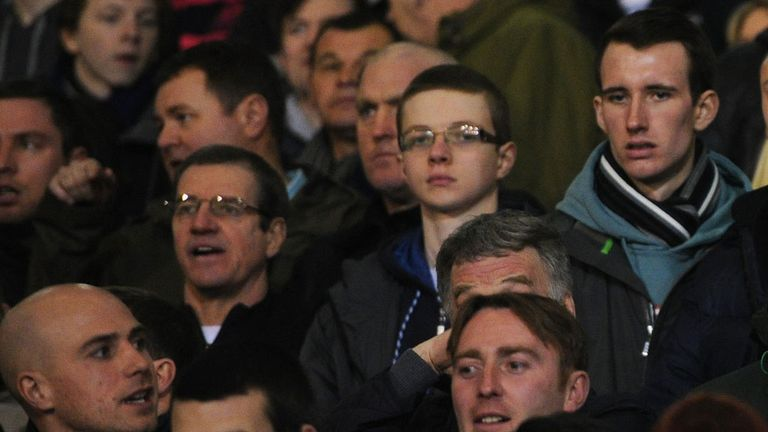 Fans during an FA Cup match at Boundary Park, Oldham, in 2013