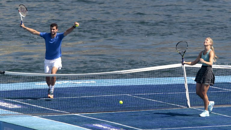 Grigor Dimitrov and Eugenie Bouchard: Played tennis in the middle of Acapulco Bay