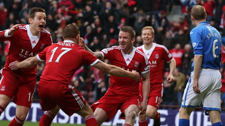 Jonny Hayes: Celebrates opening the scoring at Tynecastle
