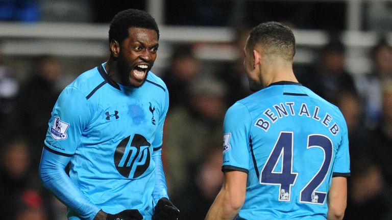 Emmanuel Adebayor: Celebrates his first goal at St James' Park