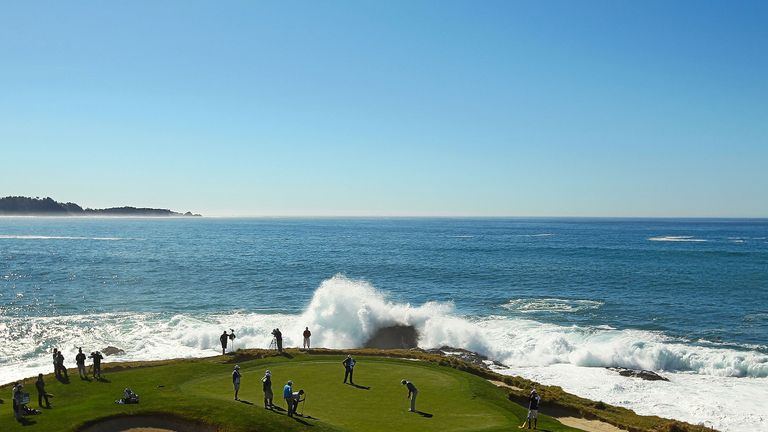 One of the great views: Pebble Beach's short par three 7th hole