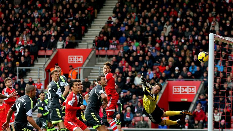 Rickie Lambert: His free-kick flies in to give Southampton the lead