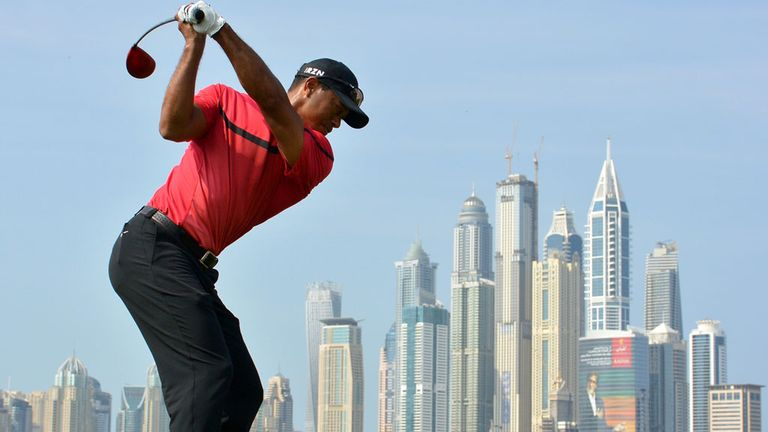 Tiger Woods during his final round in Dubai