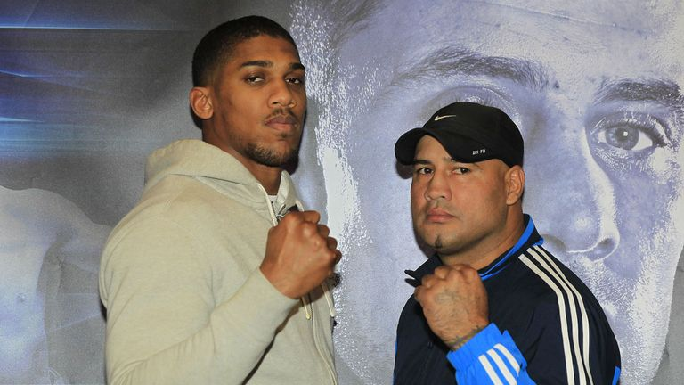 Anthony Joshua and Hector Avila square up for the first time (Pic Lawrence Lustig)