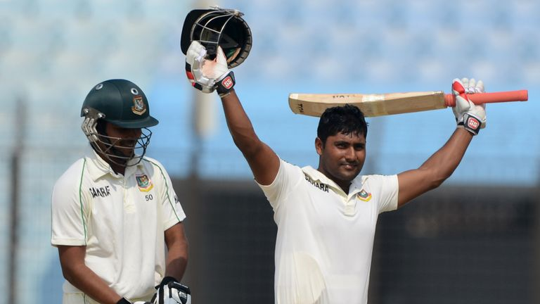 Imrul Kayes (right): Celebrates scoring his maiden Test hundred for Bangladesh