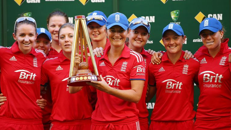 Charlotte Edwards and her team-mates celebrate their Ashes victory