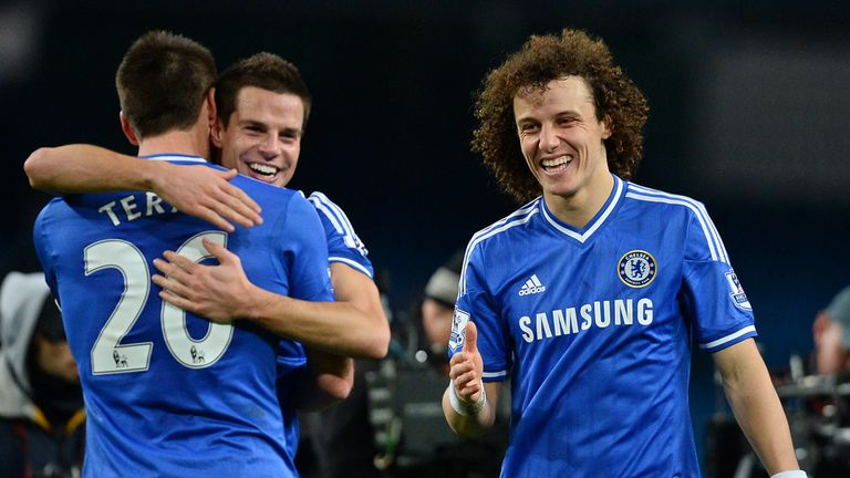 Chelsea players celebrate their win over Manchester City