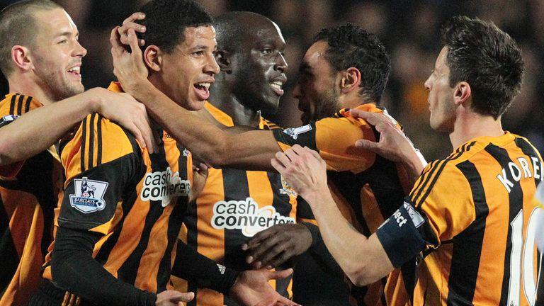 Curtis Davies: Hull defender celebrates his opener against Brighton