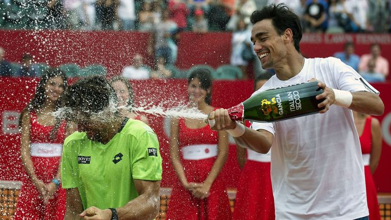 David Ferrer: Doused by Fabio Fognini after the Copa Claro final