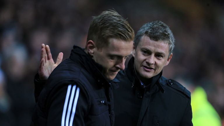 Ole Gunnar Solskjaer (right): With Swansea counterpart Garry Monk