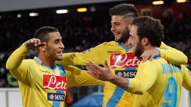 Gonzalo Higuain: Celebrates with Napoli team-mates